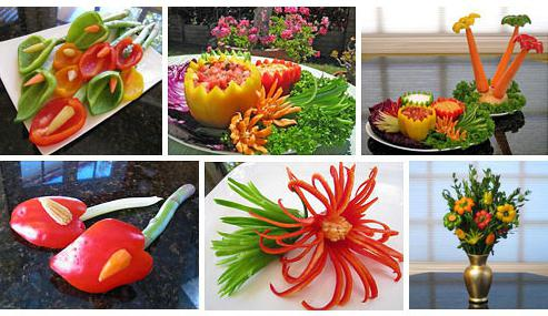 How to make carving from vegetables. Simple ways of making flowers, animals, palms from them